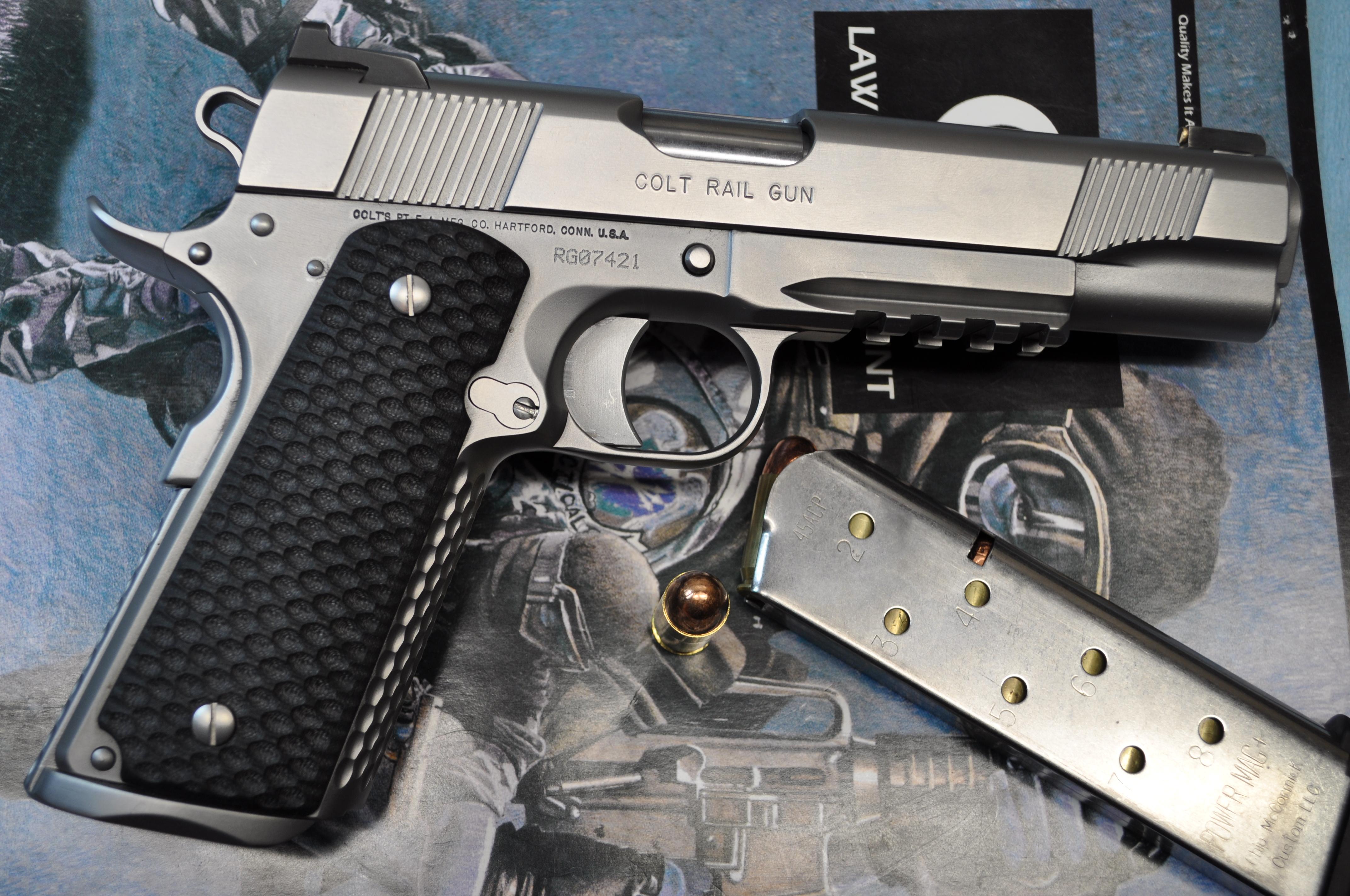 Stainless Colt rail gun | Bullock Custom